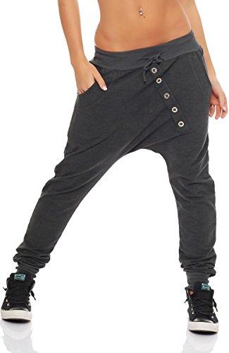 Malito Damen Jogginghose mit Knopfleiste | Sporthose meliert | Baggy zum Tanzen | Sweatpants - Trainingshose 7398 (dunkelgrau)