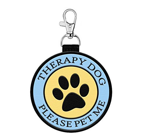 2 Sided'Therapy Dog' Identification Patch Tag with Pawprint
