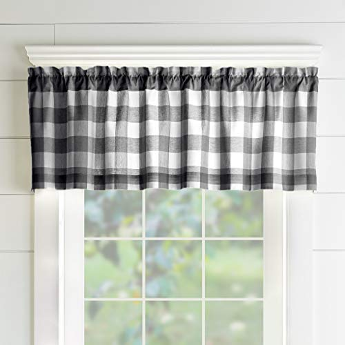 "Elrene Home Fashions Farmhouse Living Buffalo Check Window Kitchen Valance, 60"" x 15"" (1, Black/White"