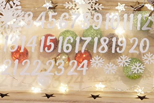 marinamalina adventskalender Zahlen aufbügeln Adventszahlen zum Aufbügeln Aufkleber Hotfix Bügelbild Textilaufkleber Glitterfolie Glitzerfolie bunt 24 Stück (Weiss G0001, 35 mm)