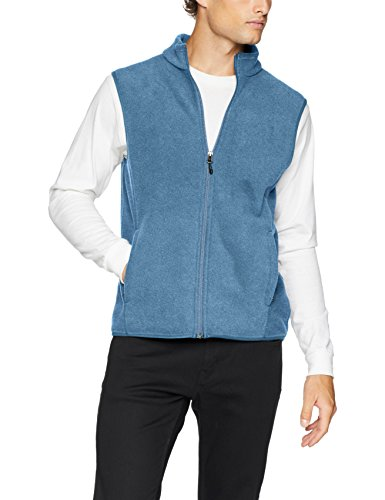 Amazon Essentials Men's Full-Zip Polar Fleece Vest, Blue Heather, Large