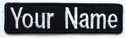 Lan Stang Custom Embroidered Name Tag Name Badge Iron-On Sew-On Patch 1x4 inches (Black Fabric-Black Border)