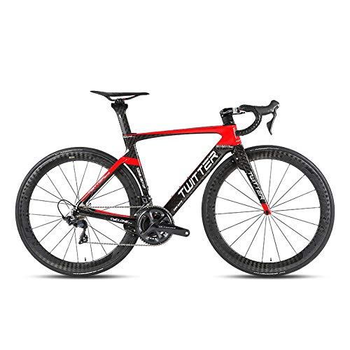 Rueda de Carbono de Horquilla de Carbono de Bicicleta de Carretera de 22 velocidades para componentes 105 / R7000 UT / R8000 Ultraligero 7 8kg-Black_Red_ (R7000) _52cm_China
