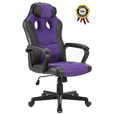 SEATZONE Smile Face Series Leather Gaming Chair, Racing Style Large Bucket Seat Computer Desk Chair, Executive Office Swivel Chair with Headrest, Purple