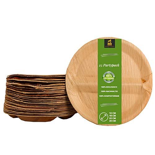 Michael Heinen Bio Palmblatt Geschirr - Palmblattteller 100% Kompostierbar Umweltfreundlich Ökologisch - Einwegteller aus Palmblatt