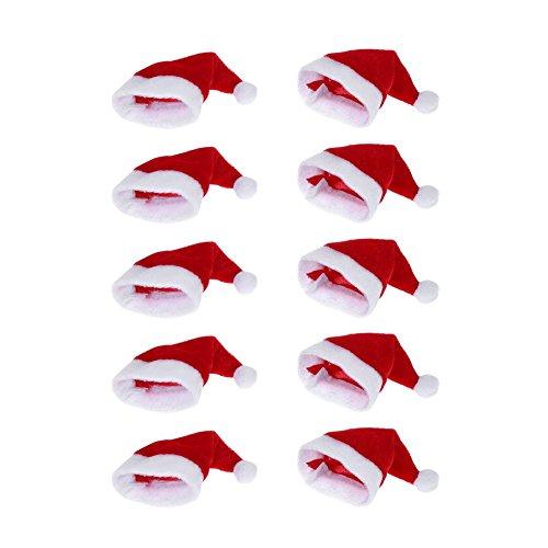Broadroot 10 pcs Mini chapeau de Père Noël Tasse bouteilles Coque de cadeau de Noël Home Décorations de Noël