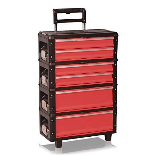 Werkzeugtrolley, 4fach 1.1.2.2 rot