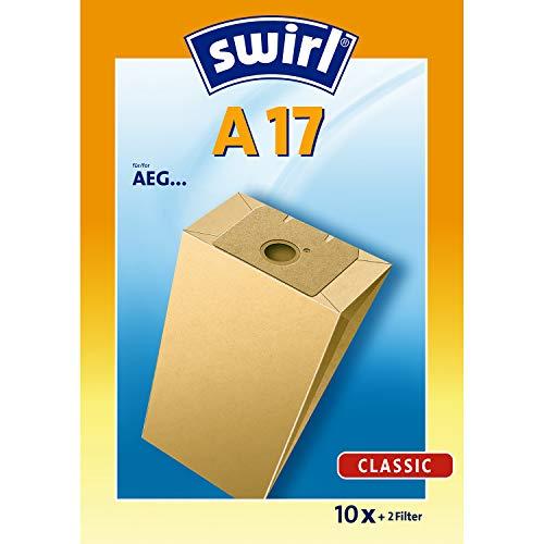 Swirl A 17 Spezialpapier Staubsaugerbeutel für AEG Staubsauger, Classic, 10 Stück inkl. 2 Filter