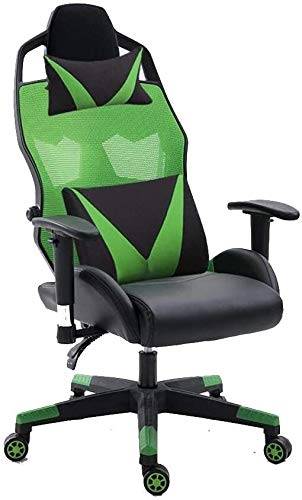 Xiuyun Swivel chair Computer Chair, 360° Rotation Ergonomics Adjustable Office Chair Multifunction Reclining High Back E-sports Chair Game Chair with Headrest and Lumbar Support (Color : Green)