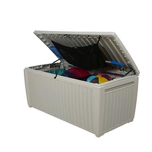 Auflagenbox / Kissenbox Koll Living 511 Liter l 100% Wasserdicht l mit Belüftung dadurch kein übler Geruch / Schimmel l Moderne Rattanoptik l l Deckel belastbar bis 200 KG ( 2 Personen ) - Poolbox - 3