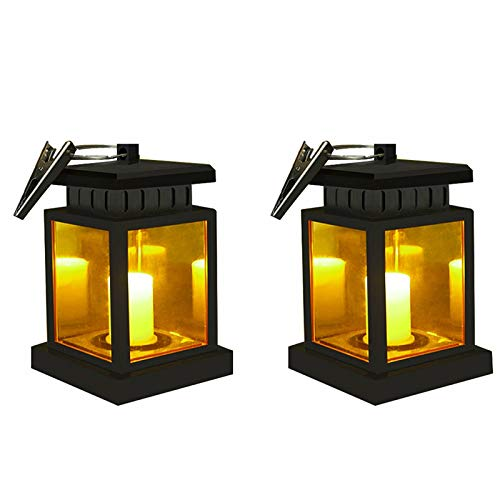 Solar Lantern Waterproof Hanging Solar Light Outdoor Garden Umbrella Lanterns Dusk to Dawn Auto On/Off LED Security Night Light Lamp with Clip for Garden Patio Decoration(Solar Candle Lantern)