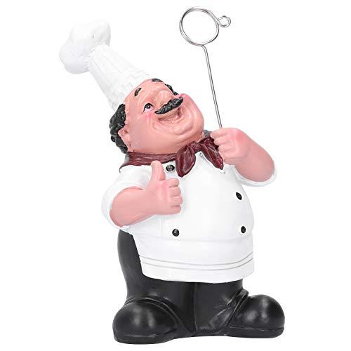 Qqmora Adornos de Resina para Chef, Tarjetero, Adornos de Resina sintética para Figuras de Chef, Tarjetero, Resina decoración de cafeterías para apreciación
