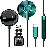 Auriculares USB C,ACAGET S21 Ultra Auriculares con Cable In-Ear HiFi Estéreo Tipo C con Micrófono y Control de Volumen para Samsung S21+/S20 FE/S20/Note 20 Ultra, Huawei P40, OnePlus 9 Pro/8T,Verde