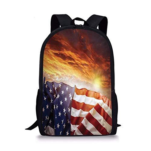 JINGS Zaini scuola Decor bandiera americana, bandiera davanti al cielo al tramonto con Horizon Light America Union foto idilliaca, Multi per ragazzi e ragazze Zaino sportivo da uomo