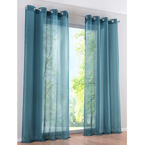 SIMPVALE 2 Paneles Cortinas con Ojales Translúcida Visillos para Dormitorios Habitación Salón Balcón,Azul,140cm x 145cm