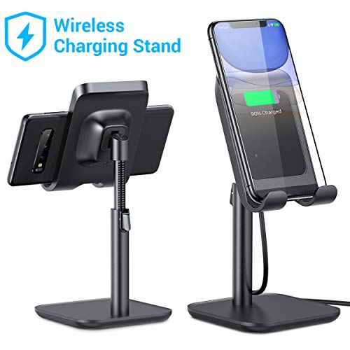 [2020 Upgraded] iPhone Wireless Charger, [Angle&Height Adjustable] LISEN Cell Phone Wireless Charging Stand, 10/7.5W Fast Wireless Charger for iPhone 11/Pro/Max/X/XR/XS Max, Galaxy Samsung S10/S9/S8