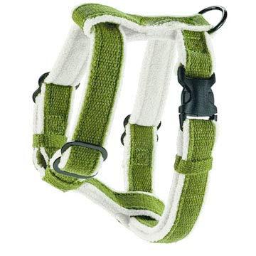 Finch Goods Cozy Natural Hemp Dog Harness with Fleece Lining (Medium, Green)
