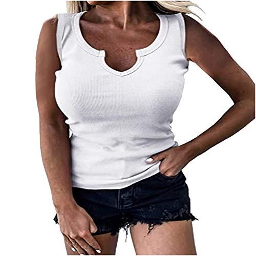 sunnymi Camisetas para mujer, camiseta de punto acanalado, estilo informal, sin mangas, cuello en V, blusa sexy. blanco M