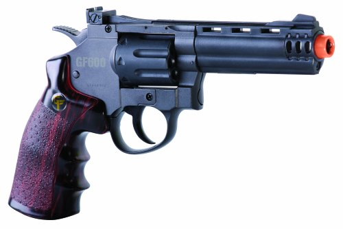 GameFace ACG357 CO2-Powered GF600 Semi-Auto 8-Shot 357 Airsoft Revolver, Grey/Brown