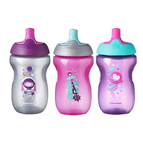 Tommee Tippee Sportee Toddler Sippy Cup - 12+ months, 10 Ounce, Pack of 3, Girl, Pink