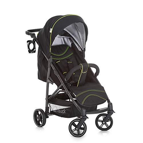 Hauck Rapid 4S silla de paseo hasta 25 kg con respaldo reclinable desde nacimiento, capota extra grande, manillar ajustable en altura, plegable con una mano, portavasos, caviar y neon amarillo