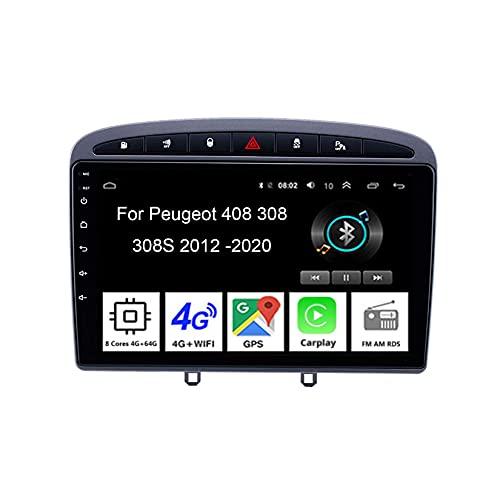 WJYCGFKJ Android Car Player Radio 9 Pulgadas Pantalla táctil Radio Navegación GPS para Peugeot 408308 308SW 2012-2020 Car Radio Accesorios para automóvil Plug and Play Soporta Control del Volante, 8