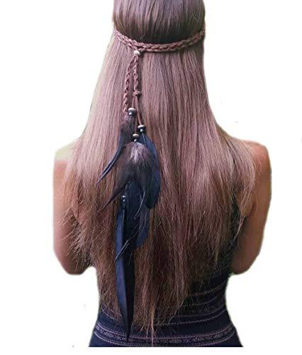 Simsly Boho Feder Stirnband Hippie Indisches Kopfstück 1920er Jahre Feder Kopfkette Haarschmuck Zubehör Kopfschmuck für Damen und Mädchen