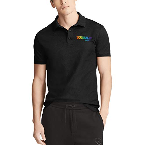 Men Black Short Sleeve Collared Polo T-Shirt Triton-Boats-Fishing-Gay-Pride-Rainbow- Tennis Buttons Tee Tops