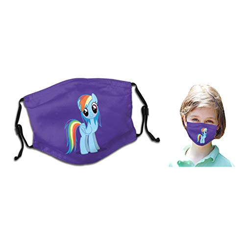 SUNTRON Little Pony Kids Face Masks with Adjustable Ear Loops Reusable Washable Cute Cartoon Horse Rainbow Dash Breathable Seamless Face Covering for Children Boys Girls