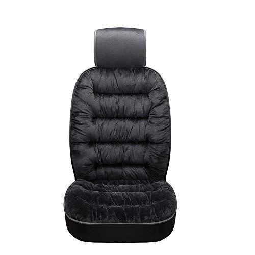 USIRIY Warm Plüsch Weich Autositzbezug Vordersitzbezug Rückseite Polster Auto Protector für den Winter, Winter Sitzkissenbezug mit Rückenlehne aus dickem Plüsch (Schwarz)