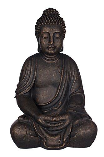 Willken Arts Buddha SWK 33013-A Bronze Figur 53 cm hoch, Buddha Statue groß, Büste, Gartendekoration