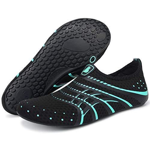 Barerun Womens Mens Water Shoes Aqua Socks Barefoot for Outdoor Beach Swim Surf Yoga Exercise Blue 12-13 M US Women / 10-11 M US Men