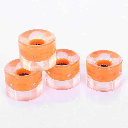 Z-Wenquan-Rueda Rodamientos Lisos 4 Piezas Ruedas de Skate con luz LED Transparente Ruedas de 60 mm Montar Duradero Longboard Penny Board Rueda de Skate 3 Colores (Color : Orange)