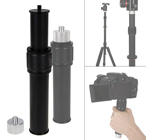 """Photecs Stativ-Verlängerung Pro, verstellbares Mini-Monopod, Kamera-Handgriff, Teleskop-Handstativ mit 3/8 Zoll Innengewinde und 1/4 Zoll Außengewinde, inklusive Gewindeadapter 1/4\"""" zu 3/8\"""""""