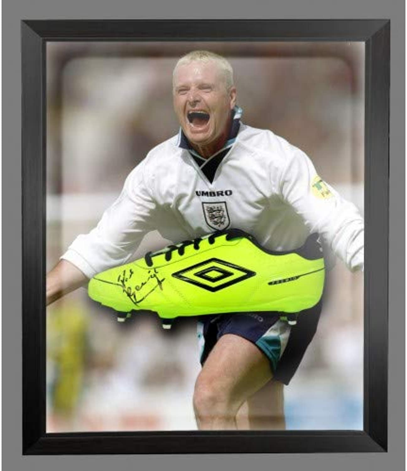 BB Paul Gascoigne Autograph Yellow Boot In Dome