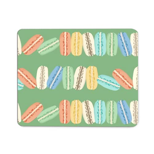 Custom Macarons on Green Laptop Mouse pad Non-Slip Rubber Gaming Mousepad for Game Players, Office, Study 8.7 x 7.1 inch