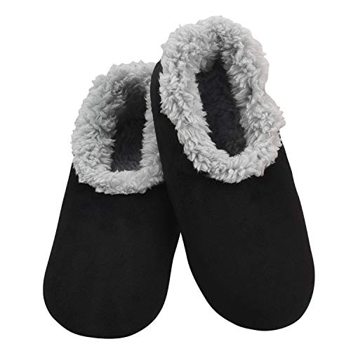 Snoozies Slippers for Women - House Slippers for Women - Super Soft Plush - Black - Large
