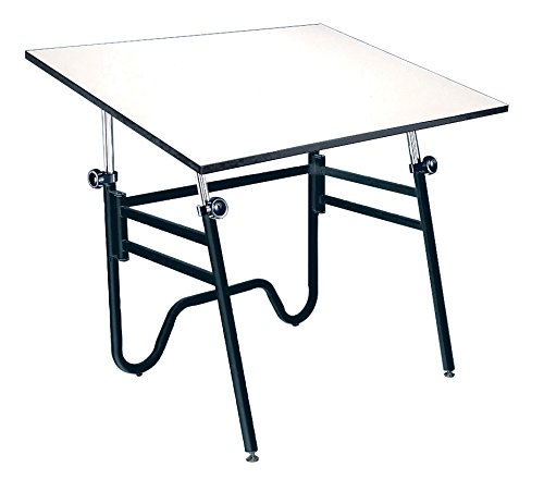 Alvin, Adjustable Foldable Drafting Table, Drawing and Crafting Equipment - Opal, White/Black, 30-inches x 42-inches