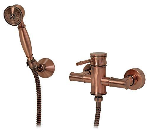 Grifo monomando de ducha Sanlingo estilo retro rojo bronce Tessa