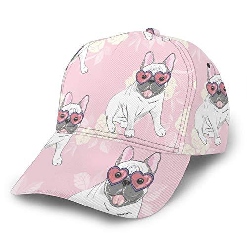 IBILIU French Bulldog Hat Baseball Cap for Men Women,Cute White Bulldog Wearing Heart Sunglasses Baseball Hat Unisex Adjustable Hats