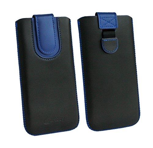 emartbuy Schwarz/Dunkelblau Premium-Pu-Leder-Slide In Hülle Abdeckung Tashe Hülle Sleeve Halter (Größe F) Mit Zuglaschen Mechanismus Kompatibel mit Die Unten Aufgeführten Smartphones