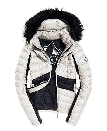 Superdry Jacke Damen Offshore Luxe Chevron Fuji Smokey Quartz Black, Größe:XL