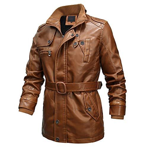 HYISHION Herren Echtleder Biker Jacke Premium Lederjacke Weiches Schafs-Leder mit vielen Details und Zippern,Gelb,XL