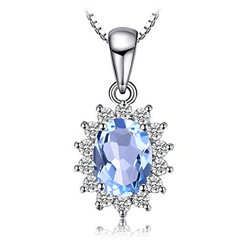 Jewelrypalace Principess Diana William Kate 2.3ct Naturale Blu Topazio 925 Sterling Argento Halo Pendente Collana 45cm