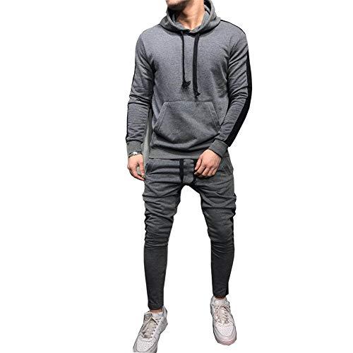 Morbuy Herren Jogging Sweatjacke PulloverJacke Hose Anzug Trainingsanzug Sweatshirt Hose Sportanzug (M, grau)