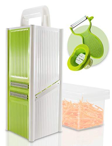 Golden Castle Vierkantreibe mit Behälter | Küchenreibe inkl. Sparschäler und Fingerschutz | Gemüsehobel Gemüsereibe Küchenhobel mit Vier Schneidvarianten aus Edelstahl | Käsereibe