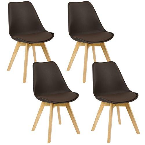 WOLTU® 4er Set Esszimmerstühle Küchenstuhl Design Stuhl Esszimmerstuhl Kunstleder Holz Braun BH29br-4