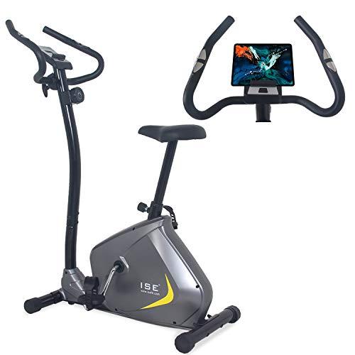 ISE Cyclette Magnetica con Computer di Allenamento & Sensori delle Pulsazioni, Gym Fitness Bike Home Cardio Trainer, SY-8802 Grigio