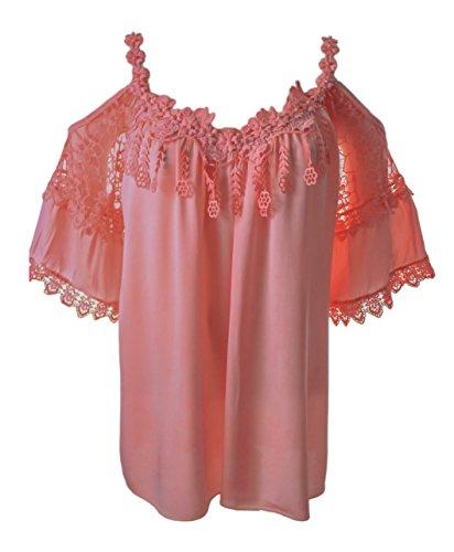 Italy Fashion Damen Tunika Bluse Open Sholder Coralle mit Perlen und Blütenträgern