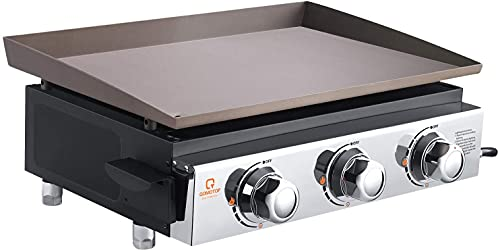 QOMOTOP 23 Inch Gas Griddle, Flat Top Gas Grill, 3 Adjustable Burners with 25500 BTU, 355 Square-Inch Cooking Area--For Patio Garden Cooking, Partying, Camping